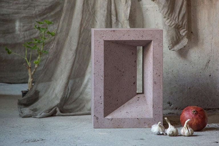 Minimalist The Source Side Table No.1 in Pink Tuff For Sale