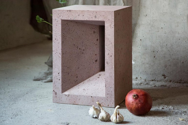 Armenian The Source Side Table No.1 in Pink Tuff For Sale