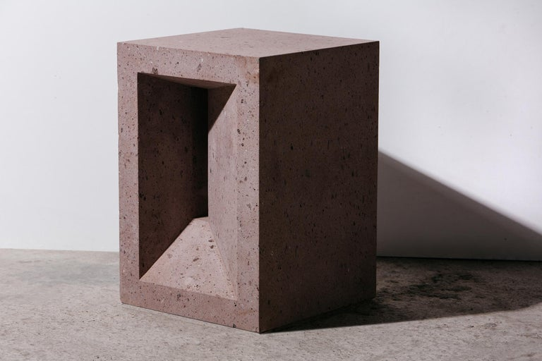 The Source Side Table No.1 in Pink Tuff In New Condition For Sale In Brooklyn, NY