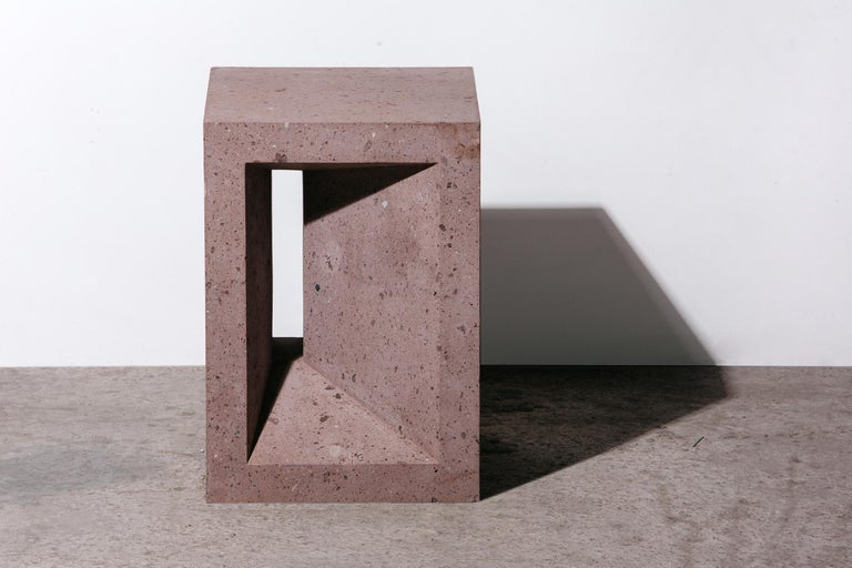 Contemporary The Source Side Table No.1 in Pink Tuff For Sale