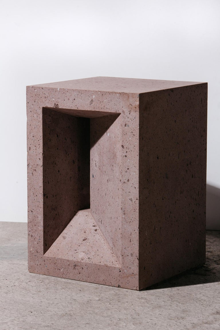 Stone The Source Side Table No.1 in Pink Tuff For Sale
