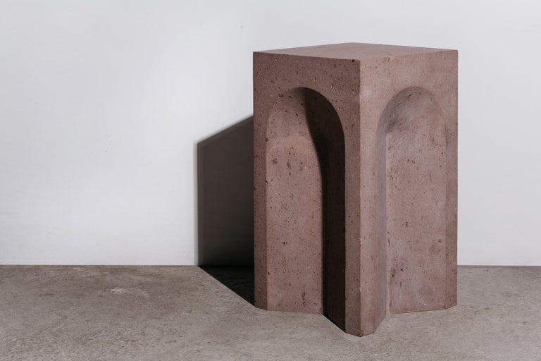 Modern Source Side Table No.2 in Pink Tuff by a Space For Sale