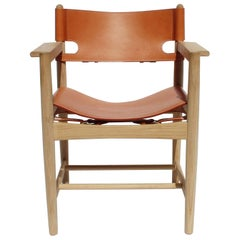 Spanish Dining Chair with Armrests, Model 3238, by Børge Mogensen