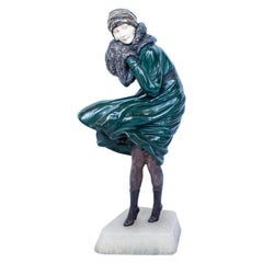 """The Squall"" Art Deco Cold Painted Bronze Sculpture by Demétre Chiparus"