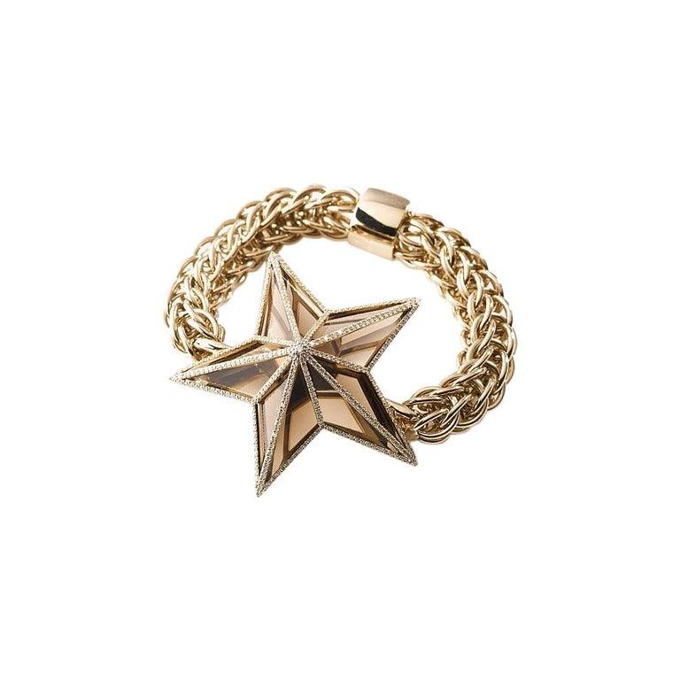 The Star Bracelet by Bibi van der Velden 130 Carat Smokey Quartz Diamonds Gold For Sale