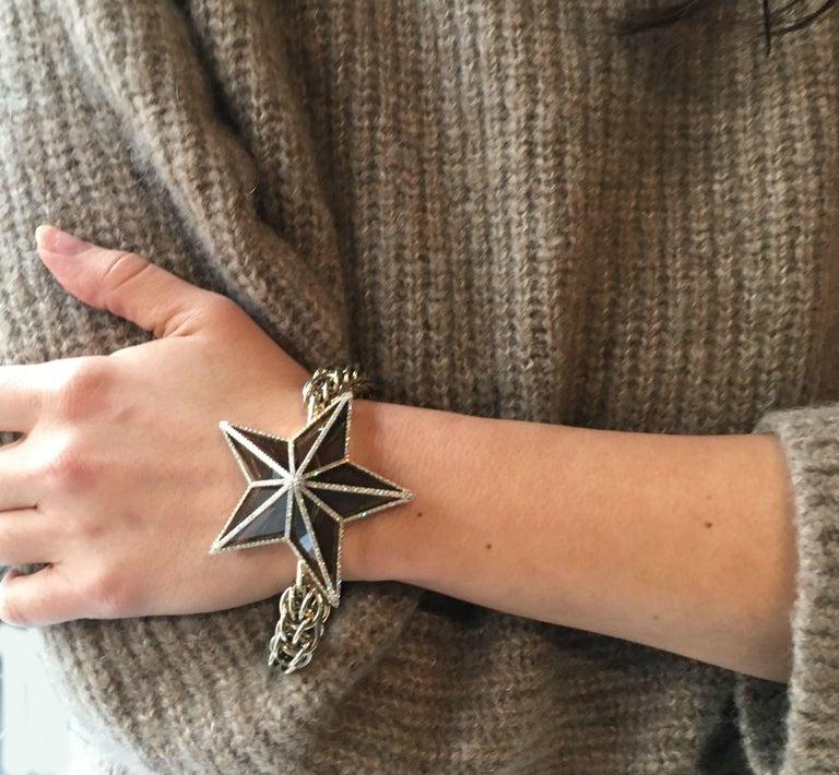 Modern The Star Bracelet by Bibi van der Velden 130 Carat Smokey Quartz Diamonds Gold For Sale