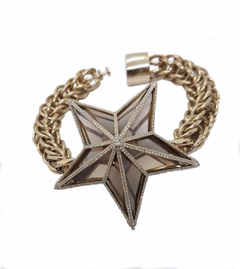 The Star Bracelet by Bibi van der Velden 130 Carat Smokey Quartz Diamonds Gold In New Condition For Sale In Berlin, DE