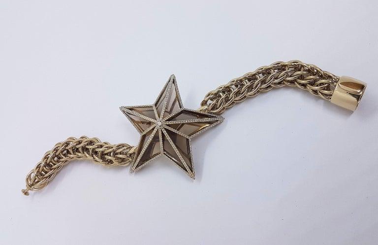Women's The Star Bracelet by Bibi van der Velden 130 Carat Smokey Quartz Diamonds Gold For Sale