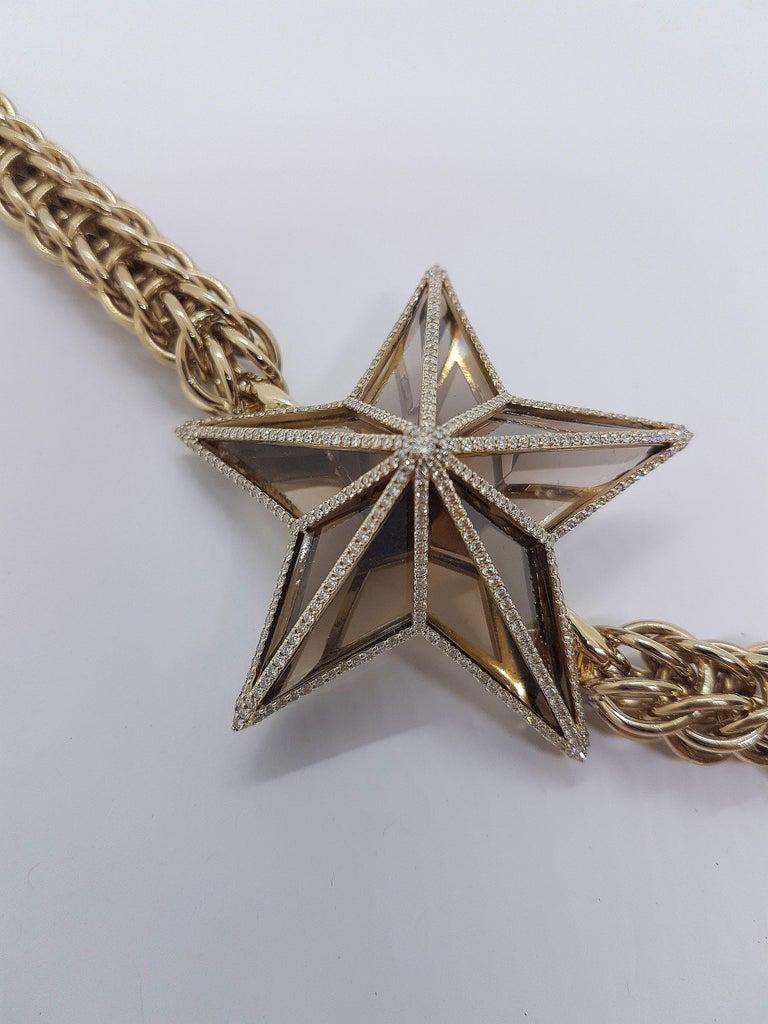 The Star Bracelet by Bibi van der Velden 130 Carat Smokey Quartz Diamonds Gold For Sale 1