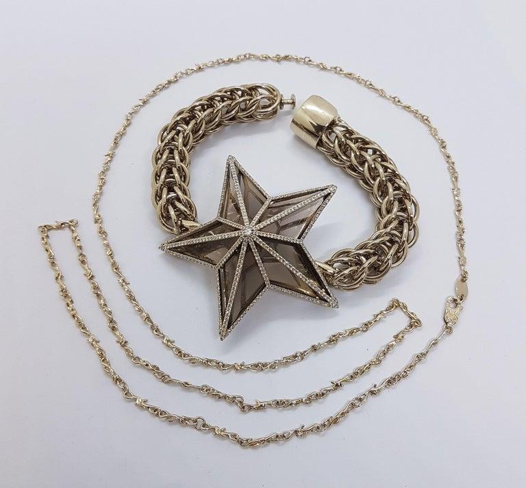 The Star Bracelet by Bibi van der Velden 130 Carat Smokey Quartz Diamonds Gold For Sale 2
