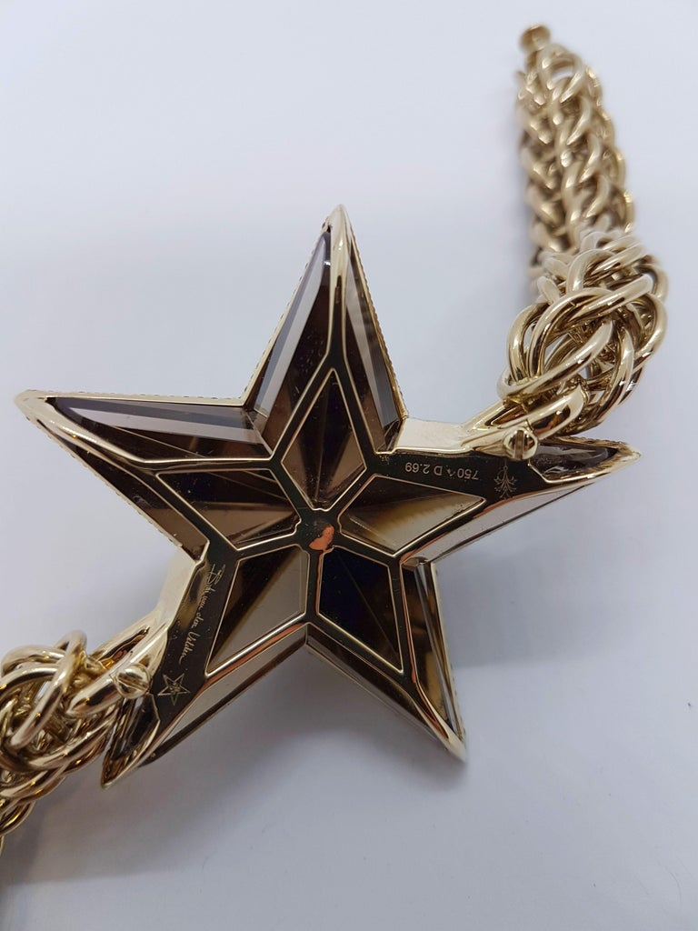 The Star Bracelet by Bibi van der Velden 130 Carat Smokey Quartz Diamonds Gold For Sale 3