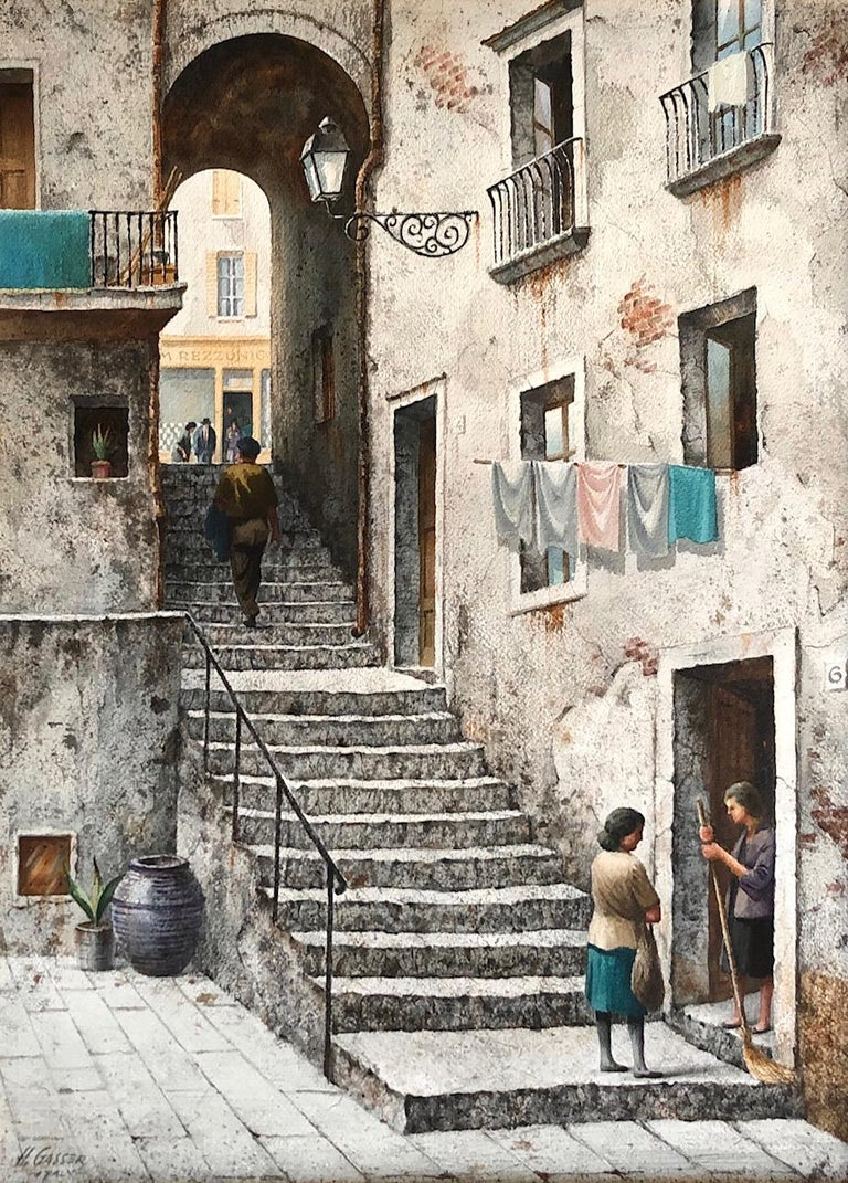 Henry Martin Gasser, 1909-1981 Watercolor on board signed and inscribed Italy, with title on the back, measures: 29.5
