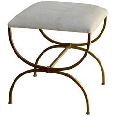 The 'Strapontin' Gilt Metal and White Hide Stool by Design Frères