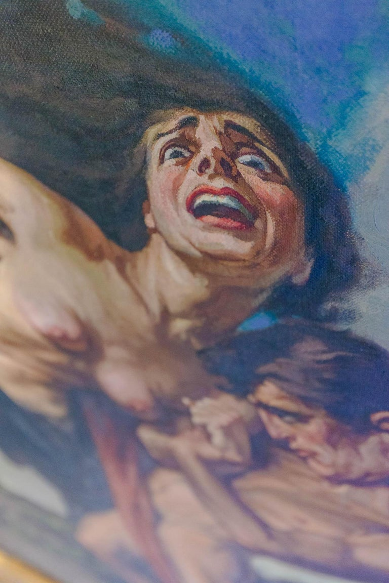 1930 Struggle of the Centaurs by Luigi De Servi Canvas Oil Painting Gold Frame For Sale 3