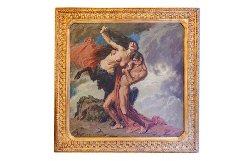 1930 Struggle of the Centaurs by Luigi De Servi Canvas Oil Painting Gold Frame In Good Condition For Sale In Tuscany, IT