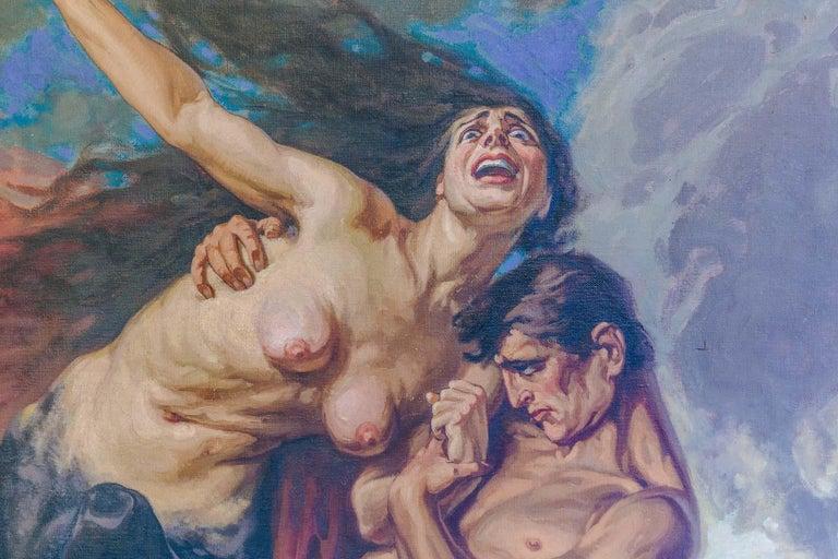 1930 Struggle of the Centaurs by Luigi De Servi Canvas Oil Painting Gold Frame For Sale 1