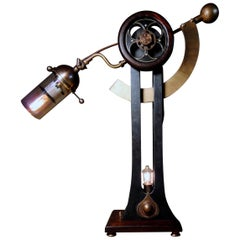 "/ ART DONOVAN / ""Sultan Jack"". Mahogany. Brass. Glass. Industrial Table Lamp."