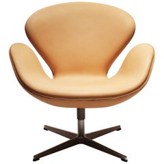 The Swan Chair, Model 3320, in Light Leather by Arne Jacobsen, 2016