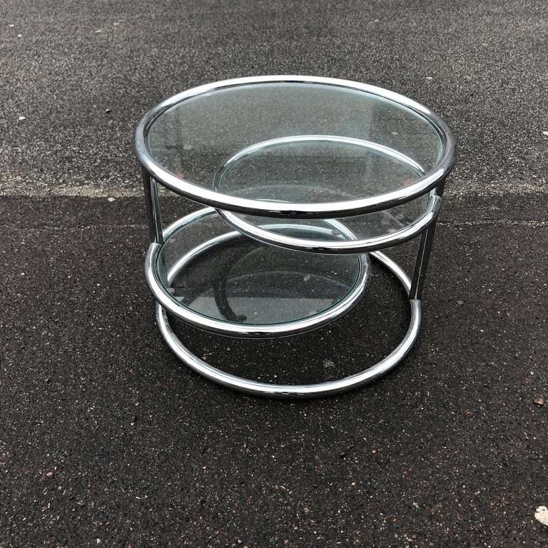 Danish Swivel Table in Chrome and Glass For Sale