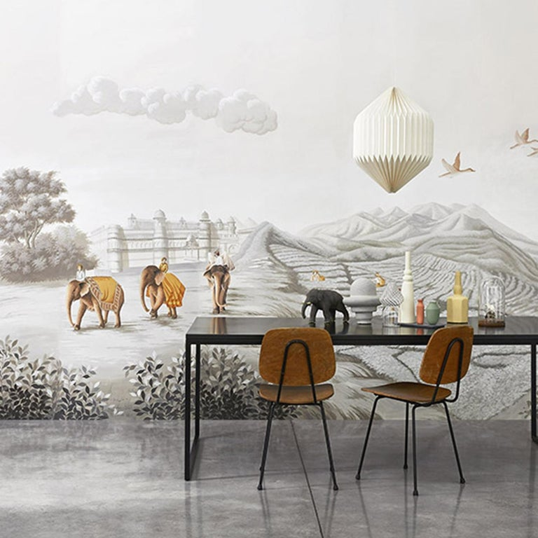 A stunning addition to a modern interior, this hand painted wallpaper is a graceful and unique objet d'art. Part of the Tour des Voyages collection, this painting on Lurex silk combines black and white with colored elements and depicts the tea-trade