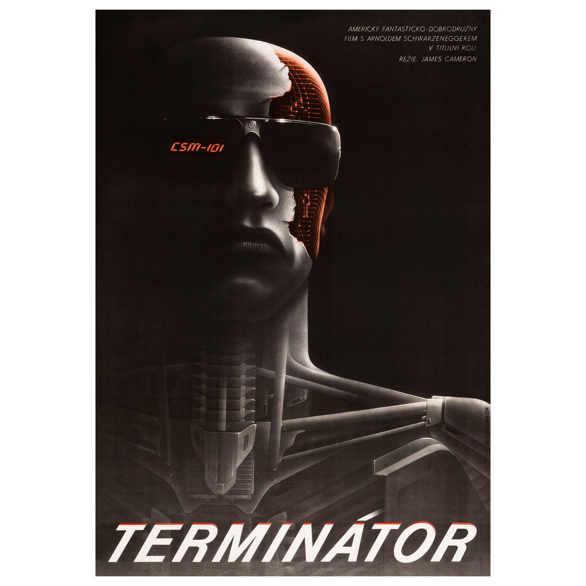 'The Terminator' Original Vintage Movie Poster by Milan Pecák, Czech, 1990