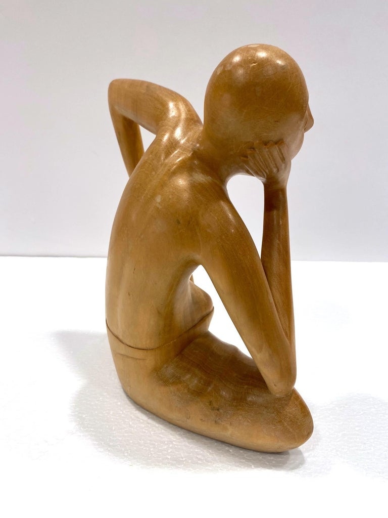 The Thinker, Vintage Balinese Figural Sculpture in Solid Wood, c. 1970's For Sale 3