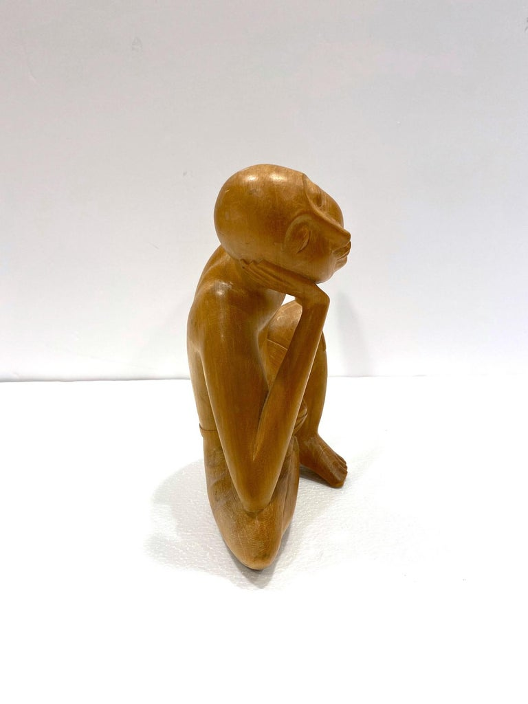 The Thinker, Vintage Balinese Figural Sculpture in Solid Wood, c. 1970's In Good Condition For Sale In Fort Lauderdale, FL