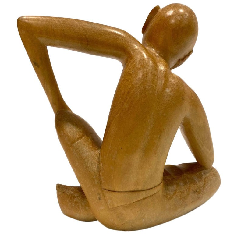 The Thinker, Vintage Balinese Figural Sculpture in Solid Wood, c. 1970's For Sale