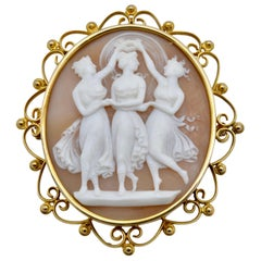 The Three Graces Carved Cameo Set in 14 Karat