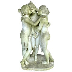 The Three Graces Nymphs, Greek Goddesses Marble Statue Sculpture