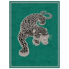 The Tibetan Snow Leopard Modern Rug Hand Knotted Wool and Silk
