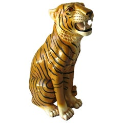 The Tiger King Italian Ceramic Sculpture, 1970s