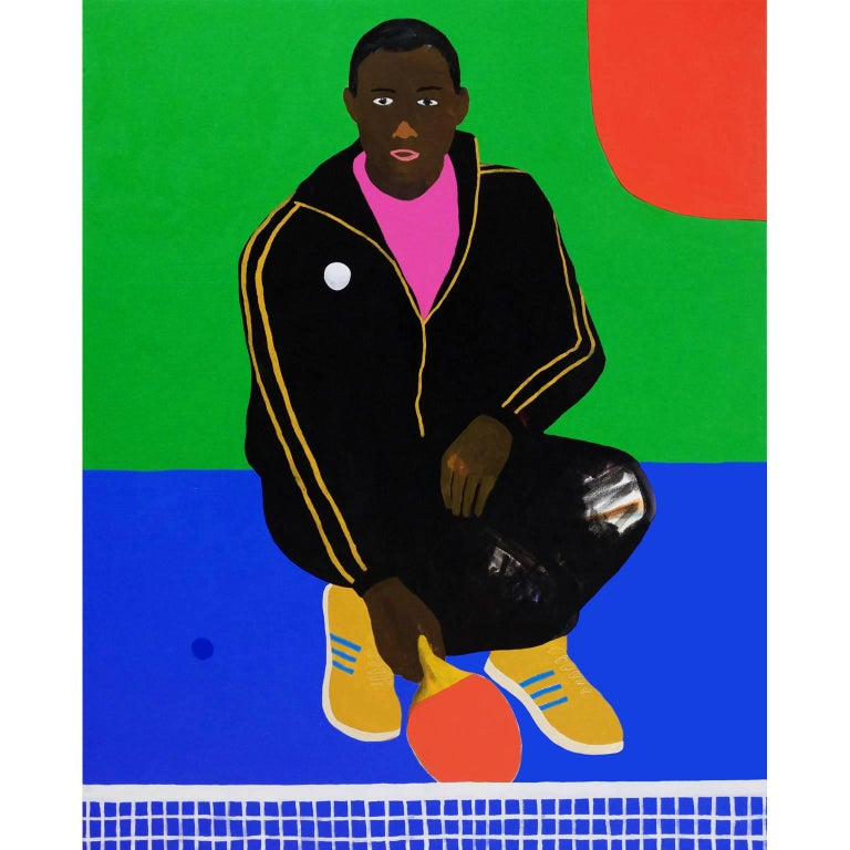 'The Tipping Point' Figurative Portrait Painting by Alan Fears Pop Art Ping Pong For Sale