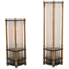 """""""The Tower"""" Solid Brass and Glass Rod Table Lamps by Jay Jeffers, a Pair"""