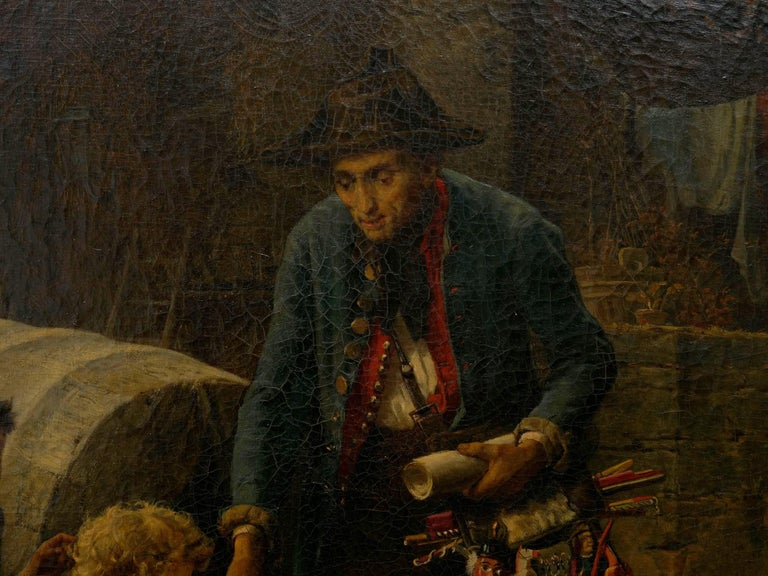 """""""The Toy Seller"""" (1874) Antique Oil Painting by Fritz Beinke (German, 1842-1907 For Sale 5"""