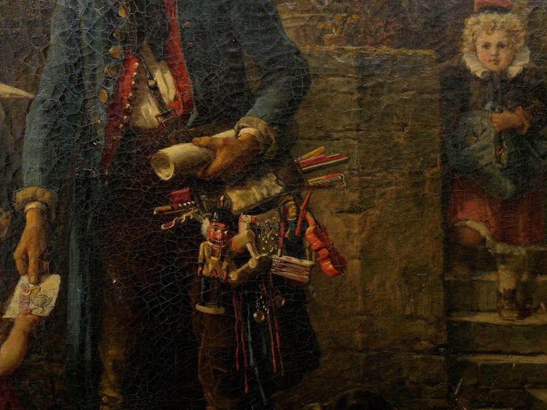 """""""The Toy Seller"""" (1874) Antique Oil Painting by Fritz Beinke (German, 1842-1907 For Sale 6"""