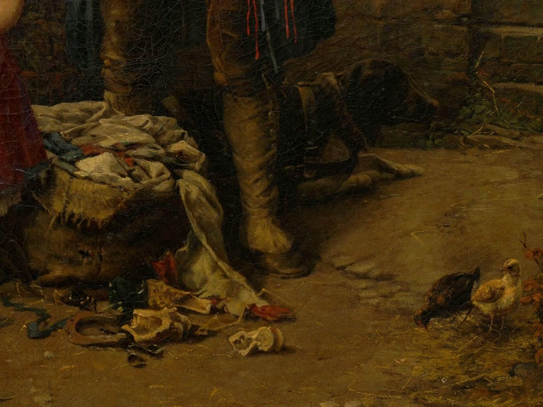 """""""The Toy Seller"""" (1874) Antique Oil Painting by Fritz Beinke (German, 1842-1907 For Sale 7"""