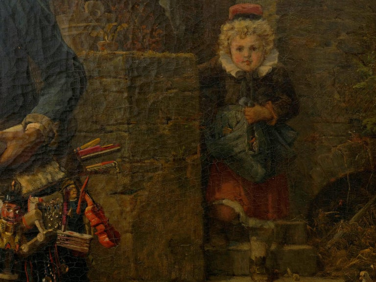 """""""The Toy Seller"""" (1874) Antique Oil Painting by Fritz Beinke (German, 1842-1907 For Sale 8"""