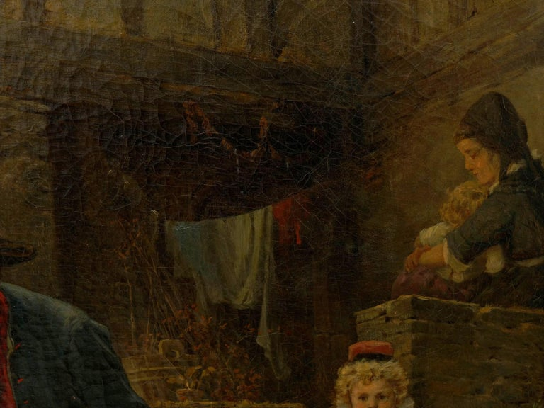 """""""The Toy Seller"""" (1874) Antique Oil Painting by Fritz Beinke (German, 1842-1907 For Sale 9"""