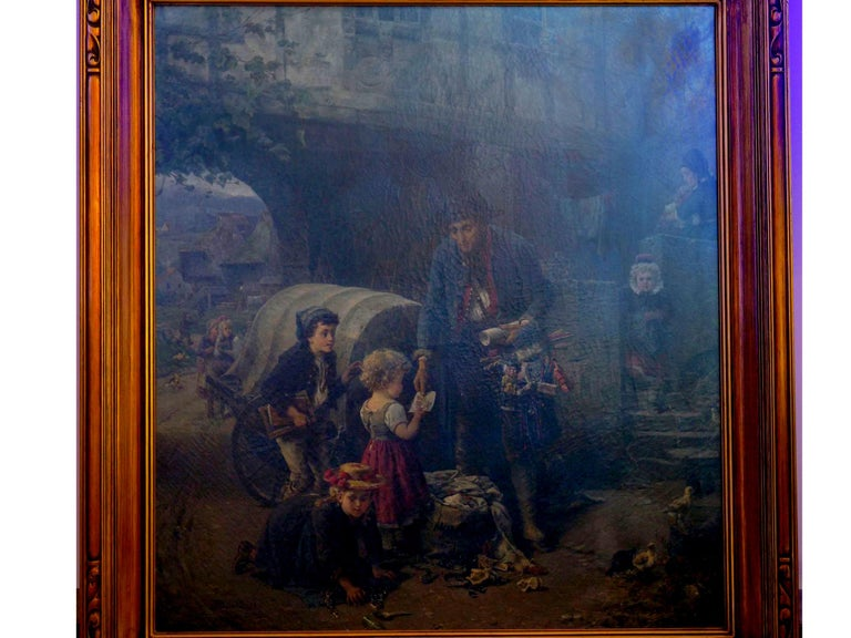 """""""The Toy Seller"""" (1874) Antique Oil Painting by Fritz Beinke (German, 1842-1907 For Sale 13"""