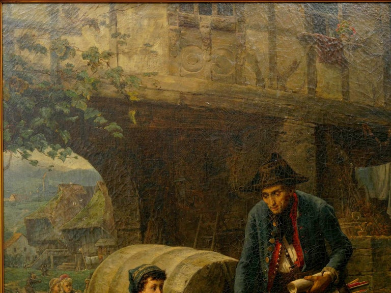 """Oiled """"The Toy Seller"""" (1874) Antique Oil Painting by Fritz Beinke (German, 1842-1907 For Sale"""