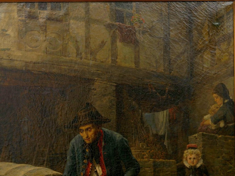 """""""The Toy Seller"""" (1874) Antique Oil Painting by Fritz Beinke (German, 1842-1907 In Good Condition For Sale In Shippensburg, PA"""