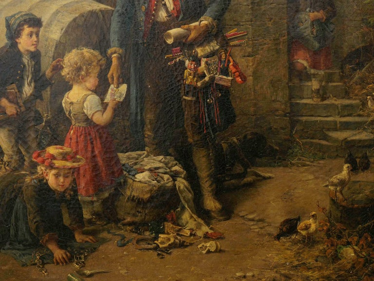"""19th Century """"The Toy Seller"""" (1874) Antique Oil Painting by Fritz Beinke (German, 1842-1907 For Sale"""