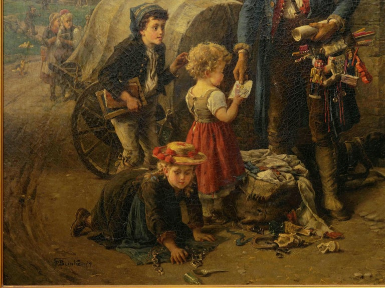 """Canvas """"The Toy Seller"""" (1874) Antique Oil Painting by Fritz Beinke (German, 1842-1907 For Sale"""