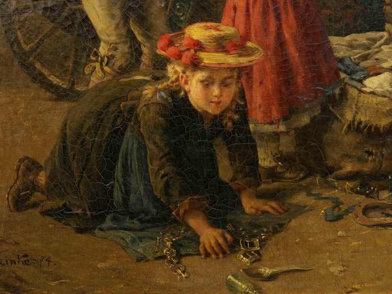 """""""The Toy Seller"""" (1874) Antique Oil Painting by Fritz Beinke (German, 1842-1907 For Sale 1"""