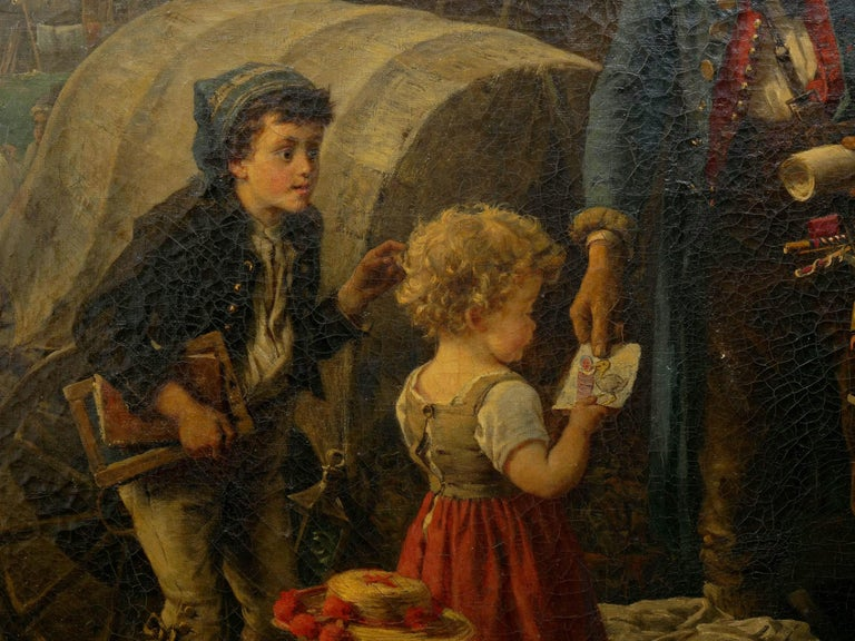 """""""The Toy Seller"""" (1874) Antique Oil Painting by Fritz Beinke (German, 1842-1907 For Sale 2"""