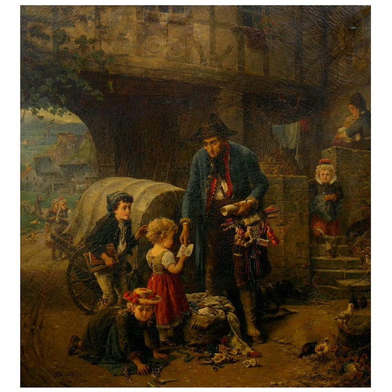 """""""The Toy Seller"""" (1874) Antique Oil Painting by Fritz Beinke (German, 1842-1907 For Sale"""