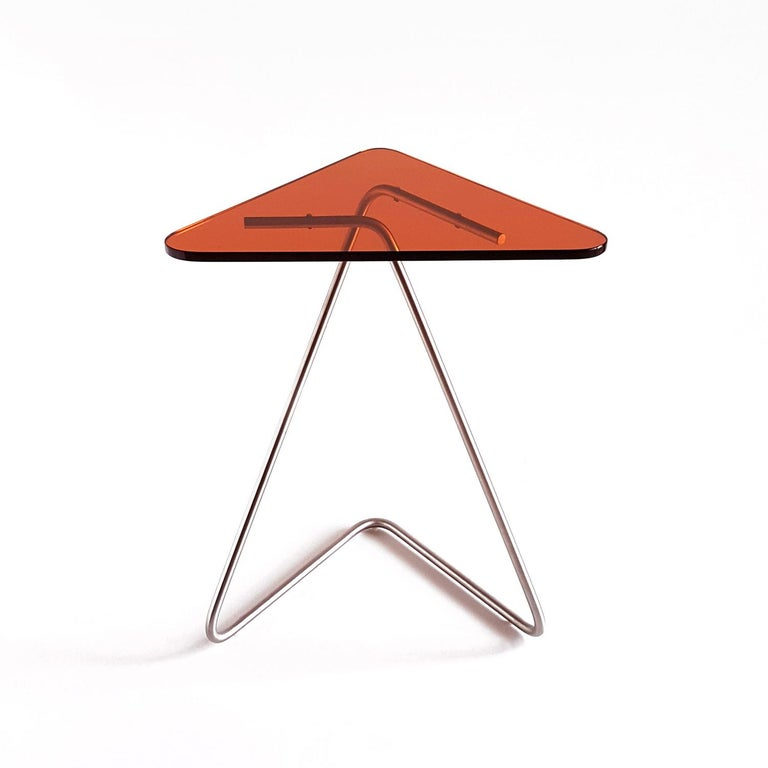 Steel Triangle Side Table by Rita Kettaneh For Sale