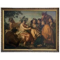 """""""The Triumph of Bacchus"""" after Diego Velázquez, Signed M. De Saivin 1897"""