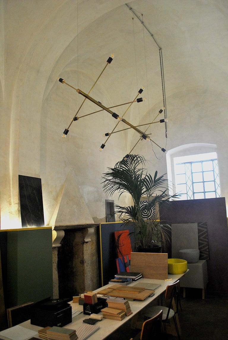 The Tube, Italian Brass Chandelier 8